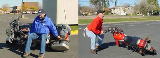 Tehnica ridicării motocicletei căzute